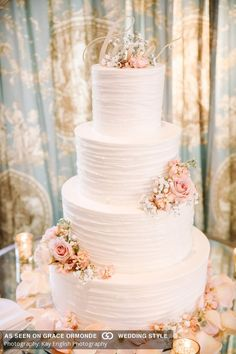 Bride to Be Reading ~ Wedding Cake for Ashford Estate Wedding, New Jersey. This cake is romantic with it's soft feminine colour and flowers! Absolute wedding cake goals!
