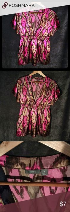 Apt. 9 Silky Kimono Blouse Plunging v-neck, elastic waist, wide open sleeves. Polyester/spandex blend makes this top silky and flowy. Apt. 9 Tops Blouses