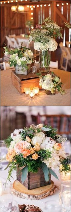 Rustic country wooden crate wedding centerpiece decor ideas / http://www.deerpearlflowers.com/rustic-woodsy-wedding-trend-2018-wooden-crates/ #rusticweddings #countryweddings