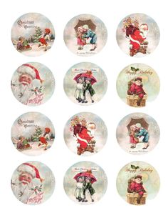 Retro, vintage, Christmas Holiday Wafer and Rice Paper, Cookie, Cupcake and Treat Toppers Decorations by TlcEdibles on Etsy