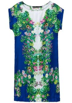 Multicolor Floral Print Short Sleeve Dress