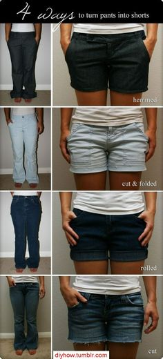 And heres how you turn pants into shorts. | Community Post: 32 Creative Life Hacks Every Girl Should Know