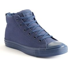 Men's Converse Chuck Taylor All-Star Street Mid-Top Sneakers ($60) ❤ liked on Polyvore featuring men's fashion, men's shoes, men's sneakers, navy, g star mens shoes, mens sneakers, mens leopard print sneakers, navy blue mens shoes and mens shoes