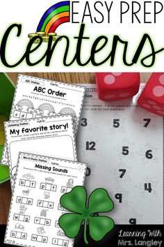 March Easy Prep centers give you hands on activites that can easily be used for morning work or independent centers. Your kids will love these! Easy printables with a few items like dice and counters and you are good to go! Aligned with Common Core Standards and includes key skills: Phonics, Sight Words, Alphabet and Letter Recognition, and Number Sense!