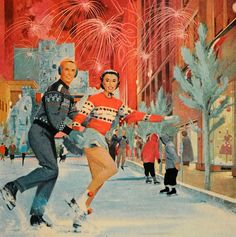 skating couple - detail from 1960 northern natural gas ad