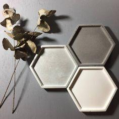 Concrete tray / dish / coaster / accessory holder in Hexagon