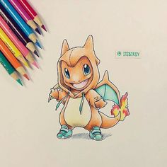 Cute Charmander colored pencil drawing.
