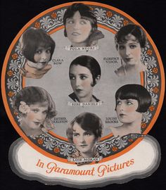 Famous Flappers on a Fan: Clara Bow ☆ Louise Brooks ☆ Pola Negri ☆ Bebe Daniels ☆ Esther Ralston ☆ Florence Vidor ☆ Lois Moran ☆