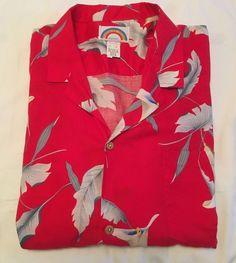 Paradise Found Hawaiian Shirt XL Aloha Camp Red Floral Print Mens 50-R  #ParadiseFound #Hawaiian