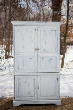 Clunky TV Armoire Turned Custom Closet – Tuesday's Treasures – FunCycled Tv Armoire, Wardrobe Cabinets, Tv Cabinets, Armoire Makeover, Furniture Makeover, Repurposed Furniture, New Furniture, Redoing Furniture, Repurposed Items