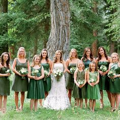 Brides.com: Cydney & Bennett in Jackson Hole, WY. Cydney let her bridesmaids choose from a range of forest-green dresses. She almost wore green herself until she found this white Monique Lhuillier gown.