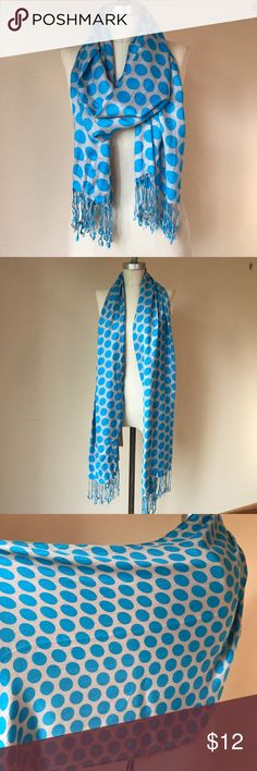 Polka dot Scarf Very soft, polka dot scarf! Fringes ends, perfect condition! Accessories Scarves & Wraps