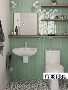 Love the green tile but the floor is a stunner too! Equipe's Masia tile in Jade. Wood Floor Bathroom, Bathroom Renos, Bathroom Faucets, Small Bathroom, Bathroom Ideas, Wc Retro, Tile Warehouse, Homemade Furniture, Cheap Furniture