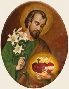 St Joseph, sacred heart of Jesus, immaculate heart of Mary Catholic Art, Catholic Saints, Religious Images, Religious Art, St Joseph, Jesus Jose Y Maria, Prayer Images, Vintage Holy Cards, Christian Images