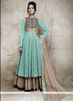 We unfurl our the intricacy and exclusivity of our creations highlighted in this turquoise georgette anarkali salwar suit. The embroidered and sequins work on dress personifies the whole appearance. C...
