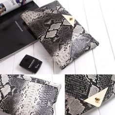 Women Vintage Vogue Snake Skin Envelope Bag Day Clutches Purse Evening Bag 2014