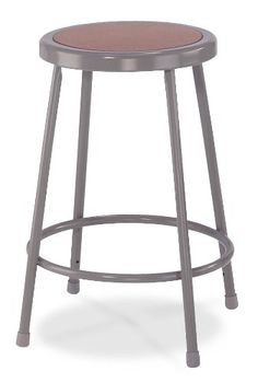 """National Public Seating 6230 Steel Stool with 30"""" Hardboard Seat, Grey National Public Seating"""