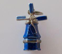 Silver Windmill Blue Enamel Moving Charm by TrueVintageCharms on Etsy