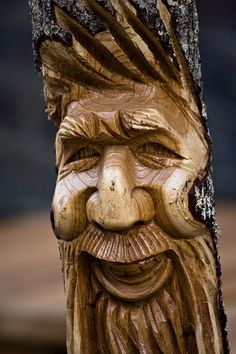 Woodspirit carving;  photo by garryknight, via Flickr;  clicking on the photo will take you to a site by Dave Brock who shows you how to carve items like these