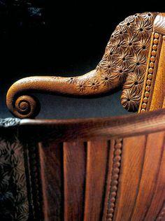 Armand Albert Rateau  Detail of chair in sculpted oak  1920/1922