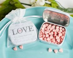 Wedding mints presented in a sophisticated way. See more wedding favor mints and party ideas at www.one-stop-party-ideas.com