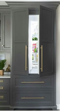 White instead Refrigerator Cabinet, Built In Refrigerator, Refrigerator Panels, Built In Fridge Freezer, Classic White Kitchen, Gray And White Kitchen, Kitchen Grey, Gold Kitchen, Kitchen Interior