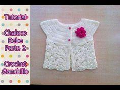 DIY Como tejer chaleco bolero para bebe niña con flor a crochet, ganchillo (2/2) - YouTube