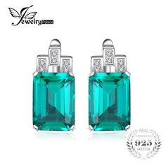 JewelryPalace Luxury 7.6ct Created Emerald 925 Sterling Silver Clip On Earrings for Women Fashion Jewelry -*- Nov 11 AliExpress BIG SALE DAY. Locate the offer on www.aliexpress.com simply by clicking the image #holidaydecor