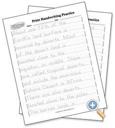 Natural Substances cursive handwriting practice worksheets