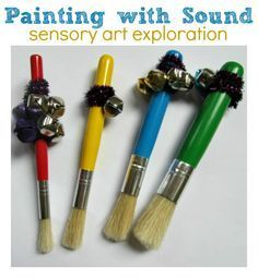 sensory & fine motor : You will need some paintbrushes , jingle bells, pipe cleaners, paper, and paint. If you are doing this on a window like we did you will want some painter's tape to keep the paper up without leaving crud on your window. notimeforflashcards