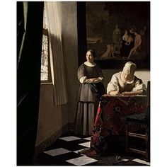 Trademark Art Lady Writing a Letter with her Maid 1670 inch Canvas Art by Jan Vermeer, 26x32, Multicolor