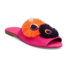 Loeffler Randall Kiki Floral Suede Slides ($395) ❤ liked on Polyvore featuring shoes, azalea, sandals, suede shoes, flower pattern shoes, suede leather shoes, floral printed shoes and loeffler randall shoes