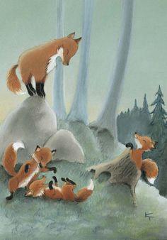 Postcard by Kaarina Toivanen Fuchs Illustration, Children's Book Illustration, Illustrations, Fox Spirit, Spirit Animal, Fox Totem, Fantastic Fox, Fox Art, Cute Fox