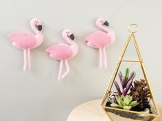 Pink Flamingo Felt Garland Baby Nursery by madebyclairelouise Pink Flamingo Party, Pink Flamingos, Felt Crafts, Diy And Crafts, Party Bunting, Bunting Banner, Baby Nursery Decor, Garland Nursery, Bedroom Decor