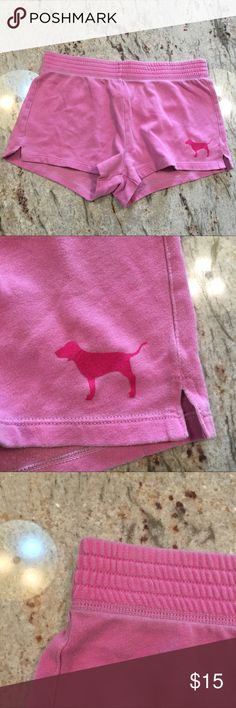 PINK Shorts Super cute vintage look and feel pink shorts. Wide waistband for a comfy fit. A pink dog emblem on the front side corner and pink across the bum. PINK Victoria's Secret Intimates & Sleepwear