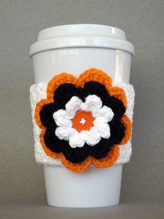 Crochet Flower Coffee Cup Cozy (Black Orange White) - Etsy $10.00