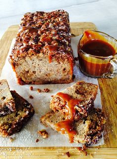 A lovely moist banana loaf studded with chunks of toffee gets topped with an Anzac biscuit crumble. For total indulgence serve with the whiskey salted caramel sauce (bowl of cream optional) and enjoy with friends!