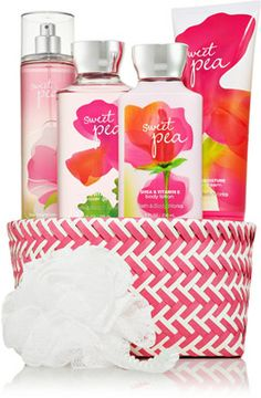 Sweet Pea Herringbone Gift Basket - Signature Collection - Bath & Body Works