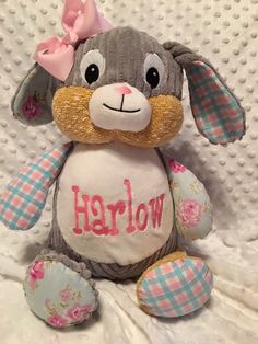 Personalized easter monogrammed baby gift easter birth easter giftspersonalized baby gift birth announcement birth blocksubway style birth stats monogrammed stuffed animal christian gifts negle Image collections