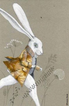 the white rabbit from Alice in Wonderland. Art And Illustration, Illustrations Posters, Rabbit Art, Rabbit Hole, White Rabbits, Bunny Art, Adventures In Wonderland, Through The Looking Glass, Art Plastique