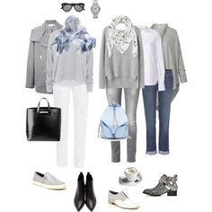 Ensemble: Casual Light Grey and White. Love this look. Especially with the baby blue accents and both scarves. Mode Outfits, Fall Outfits, Summer Outfits, Casual Outfits, Fashion Outfits, Womens Fashion, Grey Jeans Outfit, Brunch Outfit, Fashion Capsule
