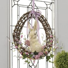 RAZ Imports – Easter Bunny with Easter Egg Wreath :Easter Gifts Diy Spring Wreath, Diy Wreath, Holiday Ornaments, Holiday Crafts, Easter Bunny Eggs, Spring Projects, Easter Celebration, Easter Holidays, Easter Crafts