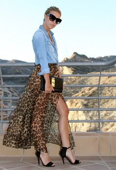 I love this!  Denim shirt, sheer flowing leopard print skirt and classic black bag and heels!