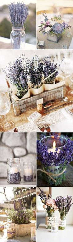 romantic lavender themed wedding centerpiece ideas Lavender Weddings, Lavender Wedding Centerpieces, Rustic Centerpiece Wedding, Engagement Party Centerpieces, Lavender Wedding Theme, Diy Engagement Party, Rustic Party Decorations, Dried Lavender Wedding, Country Table Centerpieces