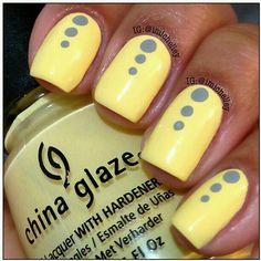 Yellow and grey dot nails