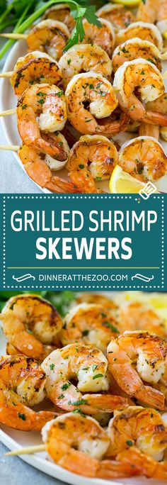 These grilled shrimp skewers are shrimp marinated in garlic, lemon and herbs, then threaded onto sticks and cooked to perfection. Shrimp kabobs can be on your table in just 20 minutes, which makes them perfect for a busy night! Marinated Grilled Shrimp, Grilled Shrimp Recipes, Shrimp Recipes Easy, Grilled Meat, Fish Recipes, Seafood Recipes, Dinner Recipes, Healthy Recipes, Grilled Skewers
