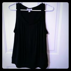 FINAL SALE! Banded Bottom Black Dressy Tank Top Super chic and on trend.  Black Banded Bottom Dressy Tank . Nearly new, No obvious signs of wear, only worn a couple of times.   No trades. Dress Barn Tops Tank Tops