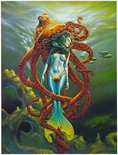 Octopus Squid, Tattoo Images, I Tattoo, Most Beautiful Pictures, Tattoos For Women, Mermaids, Painting, Art, Art Background