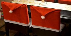 These Santa Hat Chair Covers are adorable and will make a nice addition to your kitchen's Christmas decor or a family open house for the holidays. Dress your dining room table up for the holiday season with these festive Santa Hat chair covers!Each order will contain 4 Santa Hat Chair Covers!
