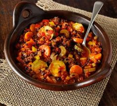 Mediterranean Lentil and Vegetarian casserole    PER SERVING  216 kcalories, protein 12.3g, carbohydrate 31g, fat 5.1 g, saturated fat 0.7g, fibre 9.8g, sugar 16.1g, salt 1.6 g